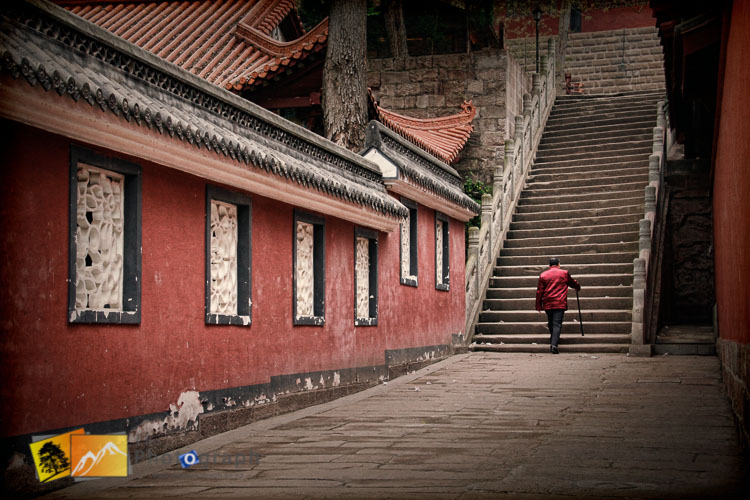 Old man in Ghost city on the Yangtze river