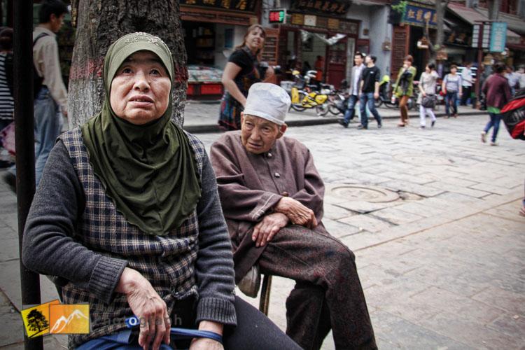 old ladies in the muslim market of Xian