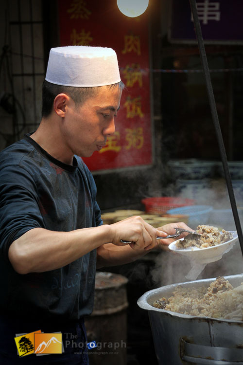 cooking in the muslim market of Xian