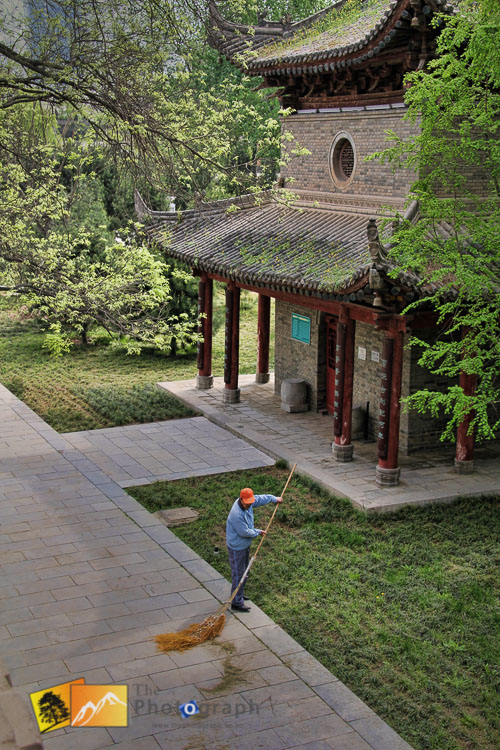 sweeping up by the Goose pagoda in Xian