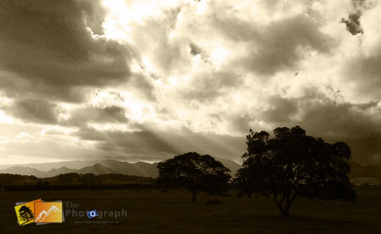 Sun rays after the rain in Hawks bay.