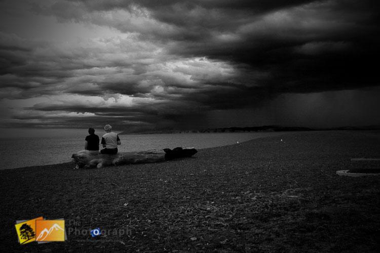 Rain clouds on Napier beach, hawkes Bay.