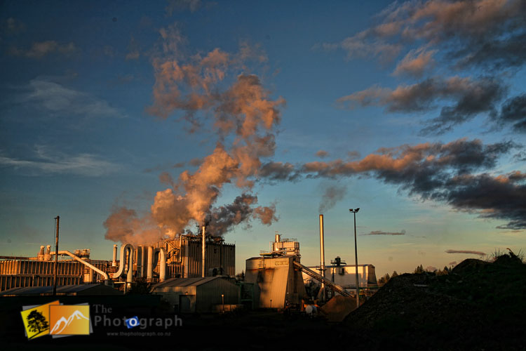 Evening light at Ohakune paper mill.