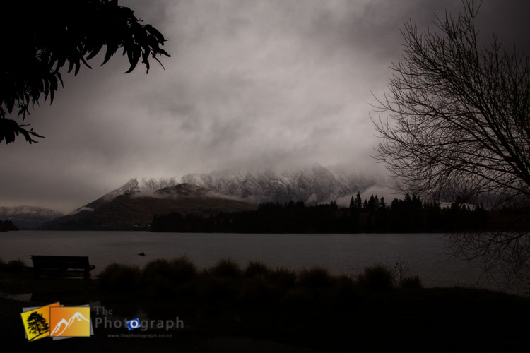 Winter view of Remarkables from Queenstown.