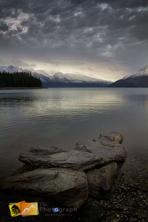 Stormy winter evening at Lake Wakatipu Queenstown.
