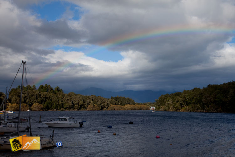 Rainbow over Manapouri lake.