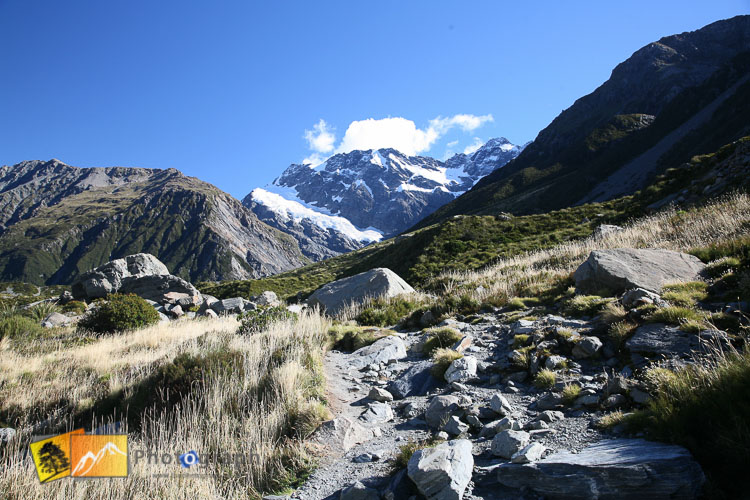 Following path to mount Cook.