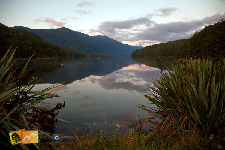 Evening at lake Monowai in Fiordlands.