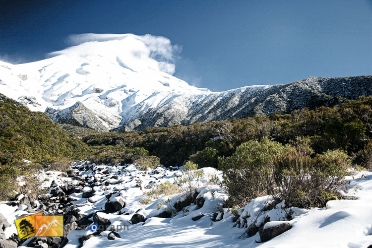Mount Egmont covered in snow.