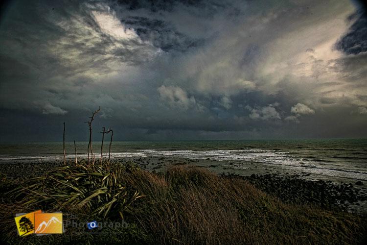 Stormy sky on the beach.