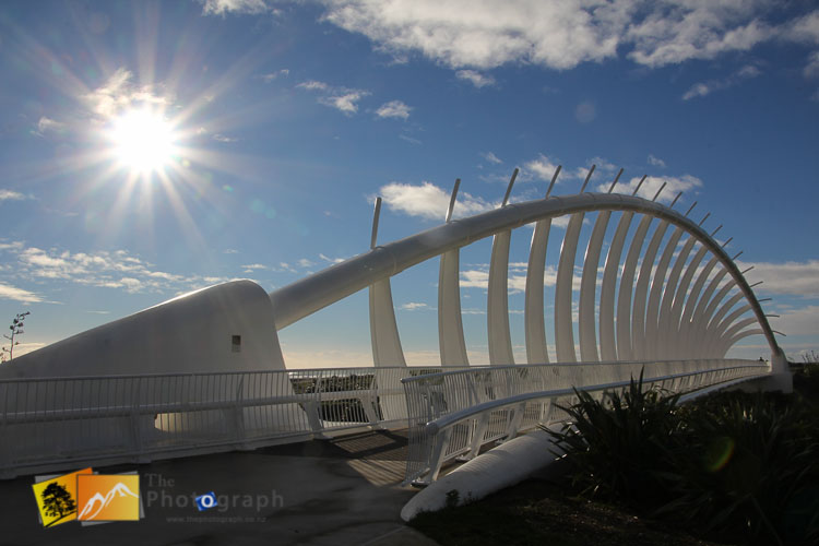 The sun rays over New Plymouth bridge.